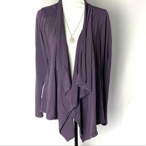 Lucy Post Yoga Purple Waterfall Cardigan Wrap L